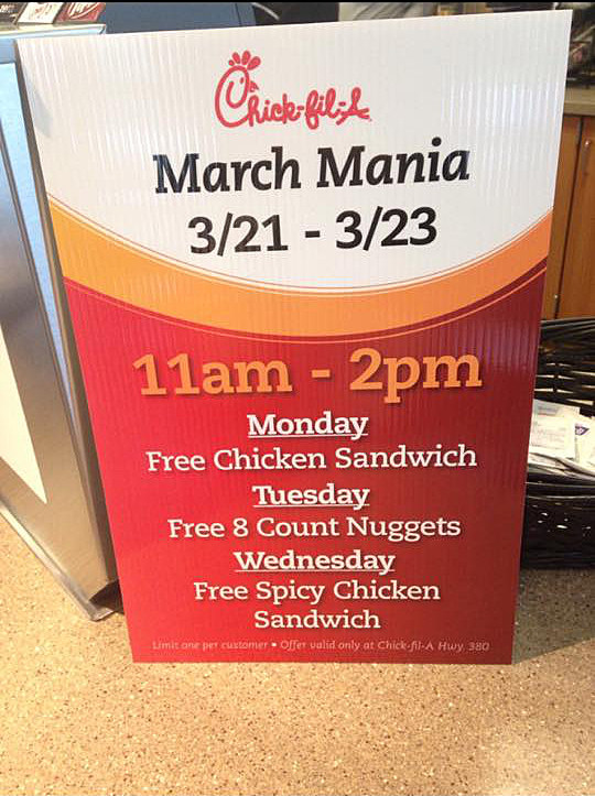 Chick-fil-A March Mania not a nationwide promotion - Facebook