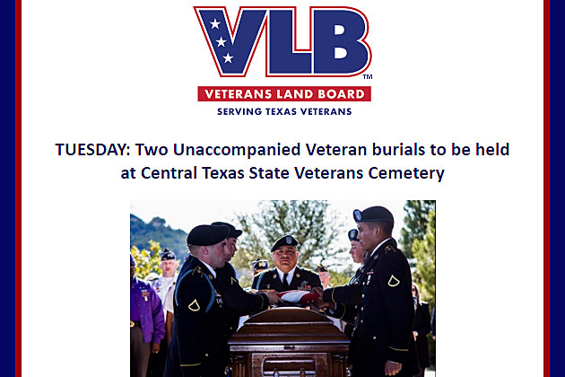 Unaccompanied veteran funeral, Tuesday, Jan 10, 2017 - Veterans Land Board Courtesy Image