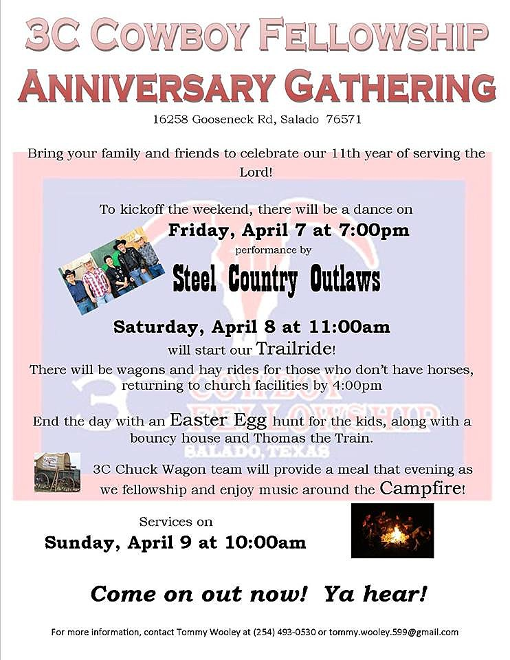 3C Cowboy Fellowship 11th Anniversary Trail Ride Flier - Facebook, Used with Permission