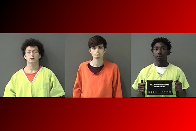 Jacob Ryan Wilson, left, Ryan Lane Culley, middle, Marco Saddler, right - Bell County Jail Photos